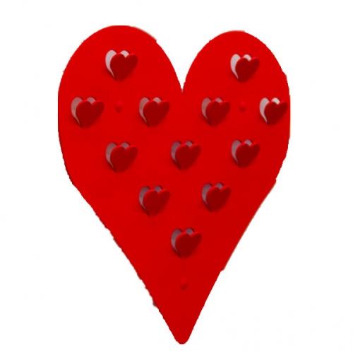 Knagerække med hjerteform