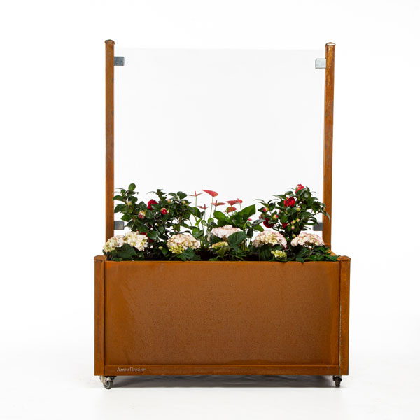 corten højbed blomst med glas og hjul